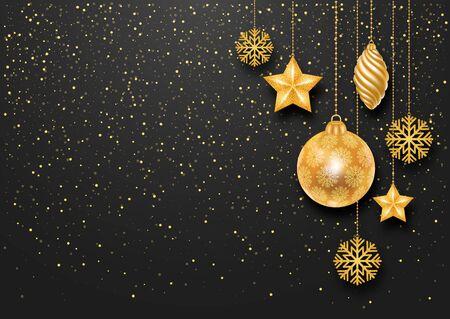 Sfondo Natale festivo con Golden Decorazioni di Natale e Golden Glitters. Illustrazione vettoriale stock. Vettoriali