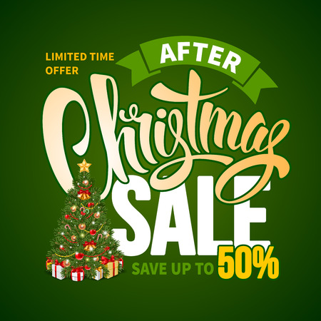 customise: After Christmas Sale Design Template with Calligraphy Inscription Christmas Sale and Decorated Christmas Tree. Easy to edit and Customise. Vector Stock Illustration.