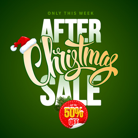 customise: After Christmas Sale Design Template with Calligraphy Inscription After Christmas Sale and Santa Hat. Easy to edit and Customise. Vector Stock Illustration. Illustration