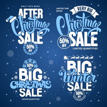 customise: Christmas Sale Design Templates Set with Calligraphy Inscriptions and Christmas Design Elements. Easy to edit and Customise. Vector Stock Illustration.