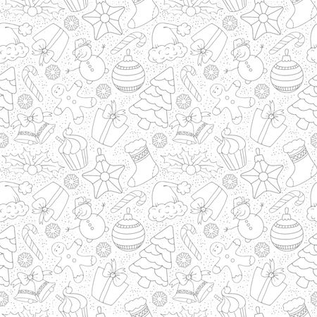 Cute Merry Christmas Seamless Pattern with Winter Holiday Symbols. Black and White, Monochrome line art design. Vector Stock Iluustration.