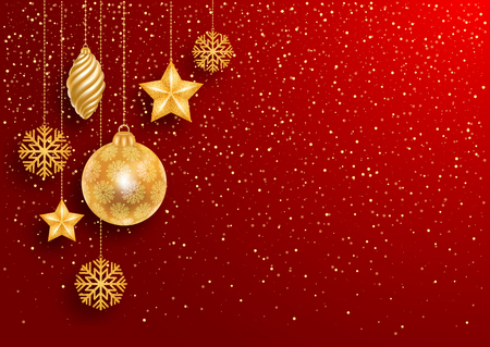 Festive Christmas Red Background with Golden Christmas Decorations and Golden Glitters. Vector Stock Illustration. Illustration