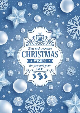 steep by steep: Christmas greeting card with type design and Christmas decorations on the snowy blue background. Vector illustration.