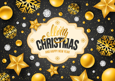 black star: Christmas greeting card with type design and golden Christmas decorations on the black background. Vector illustration.