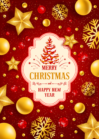 Christmas greeting card with type design and Christmas decorations on the red background. Vector illustration. Illustration