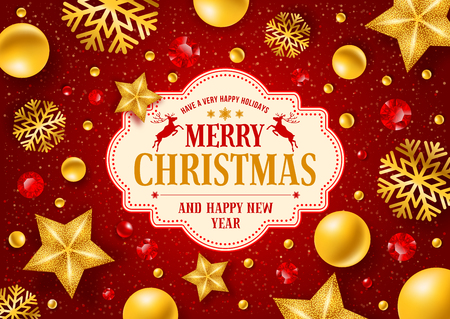 steep: Christmas greeting card with type design and Christmas decorations on the red background. Vector illustration. Illustration
