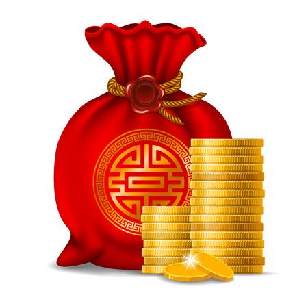 Borsa rossa per il nuovo anno cinese e monete dorate isolate su fondo bianco