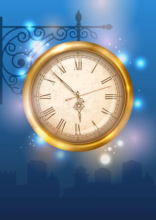 bracket: Vintage street clock hanging on forged bracket against the city at dusk. Vector illustration. Illustration