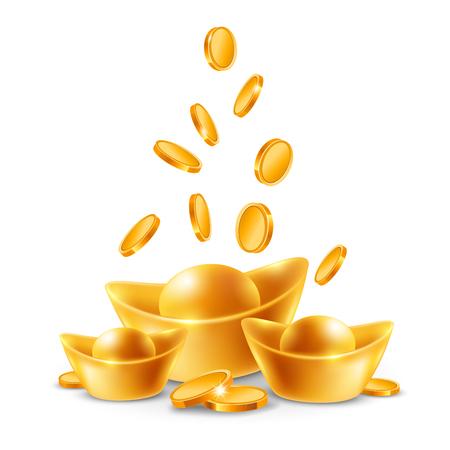 Chinese gouden ingots en munten geïsoleerd op een witte achtergrond. Vector illustratie. Stock Illustratie