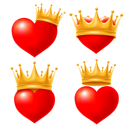 Set of Love hearts in golden crown. Vector illustration. Isolated on white background.