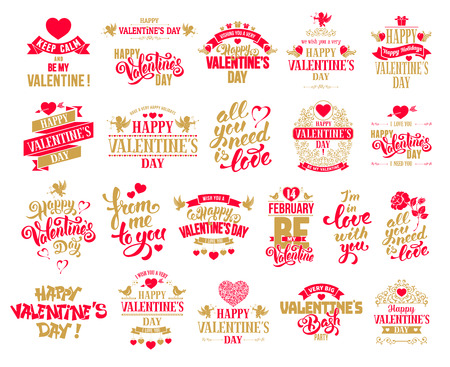 Happy Valentines Day typography designs big set. Calligraphy and lettering. Vector badges, logo, emblems, text design. Easy for edit and use. Usable for banners, greeting cards, gifts etc.