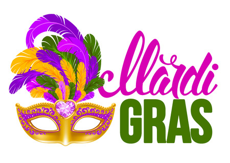 Mardi Gras Carnaval design. Luxury golden venetian mask with lush feathers and calligraphy inscription Mardi Gras. Vector illustration. Isolated on white background.