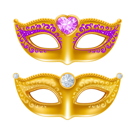 Mardi Gras Carnaval golden mask with gems. Vector illustration. Isolated on white background. Illustration