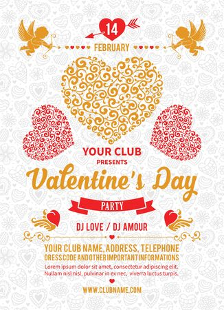 Festive poster, flyer or invitation for Valentines Day Party with hearts. Easy for edit and customize. Vector illustration.