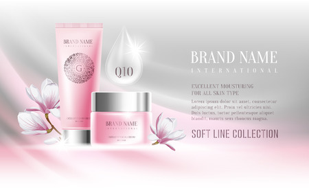 cosmetics products: Excellent cosmetic ads, facial cream and hand cream. For announcement sale or promotion new product. Pink cream bottles on soft background with glitter particles and flowers magnolia. Vector illustration. Illustration