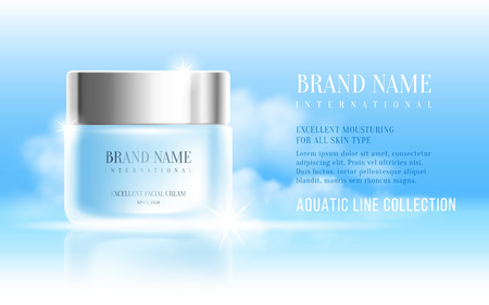 Excellent cosmetic ads, facial hydrating cream. For announcement sale or promotion new product. Blue cream bottles on soft background with clouds on sky. Vector illustration. Illustration