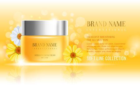 calendula: Excellent cosmetic ads, facial cream. For announcement sale or promotion new product. Yellow cream bottles on soft background with glitter particles and flowers chamomile. Vector illustration.