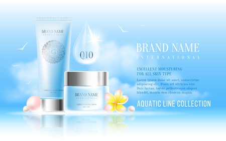 Excellent cosmetic ads, facial hydrating cream and hand cream. For announcement sale or promotion new product. Blue cream bottles on soft background with clouds on sky. Vector illustration.