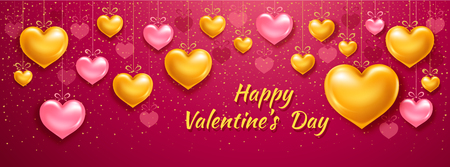 Elegant Valentines Day banner template with golden and pink volumetric hearts. Vector illustration. Illustration