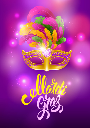 Mardi Gras Carnaval design. Luxury golden venetian mask with lush feathers and calligraphy inscription Mardi Gras on bright background with glitters and neon lights. Vector illustration.
