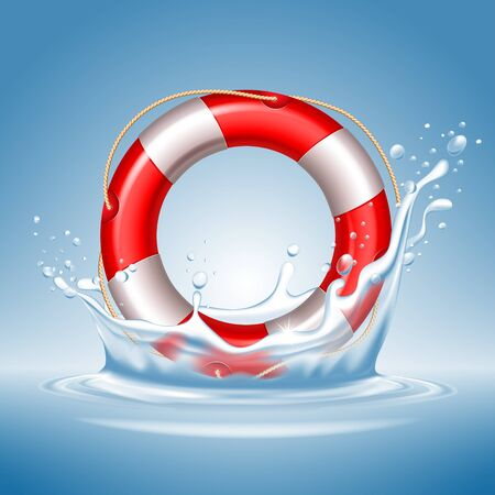 Lifebuoy with water splash. High quality, realistic, detailed vector illustration.