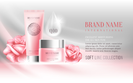 Excellent cosmetics advertising, gentle creams. For announcement sale or promotion new product. Pink cream bottles on soft background with rose flowers. Vector illustration.