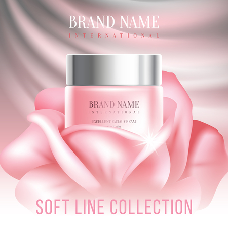 Unusual cosmetics advertising, gentle cream. For announcement sale or promotion new product. Pink cream bottle in rose bud on soft background. Vector illustration.