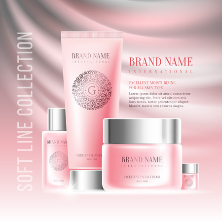 Excellent cosmetics advertising, gentle creams. For announcement sale or promotion new product. Pink cream bottles on soft background. Vector illustration. Illusztráció