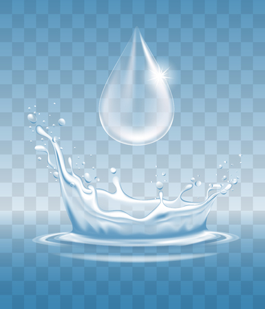 Water splash like crown and water drop, with transparency. Blue water spray with drops. Vector illustration, isolated.