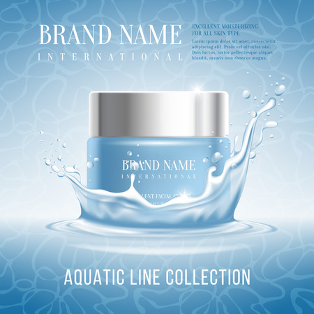 anti season: Excellent cosmetics advertising, hydrating cream. For announcement sale or promotion new product. Blue cream bottle on original background and with water splash. Vector illustration.
