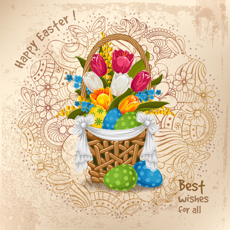 Easter greeting vintage design with spring flowers and painted eggs in basket.