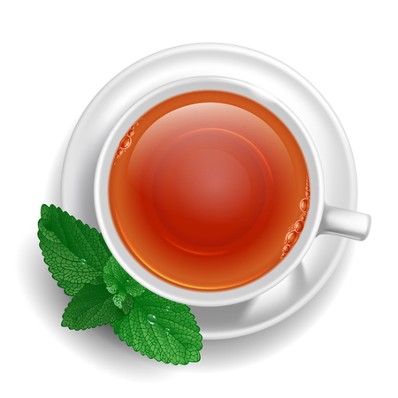 Cup of black tea on saucer with mint leaves. Top view. Vector illustration, isolated on white background.