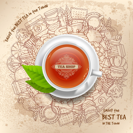 Round design for Tea shop in vintage, outline, hand drawn doodle style with different objects on tea theme. Tea cup with brand name in center, top view. Linear and realistic graphic. Vector.