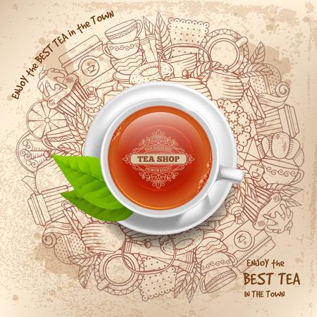 Design tondo per negozio di tè in vintage, contorno, stile doodle disegnato a mano con diversi oggetti sul tema del tè. Tazza di tè con marchio in centro, vista dall'alto. Grafica lineare e realistica. Vettore.