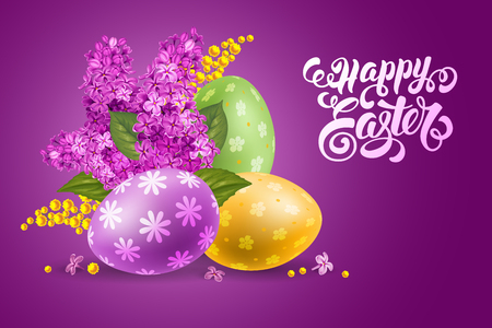 Easter greeting design. Calligraphic inscription Happy Easter and painted eggs with spring flowers lilac and mimosa. Vector illustration.