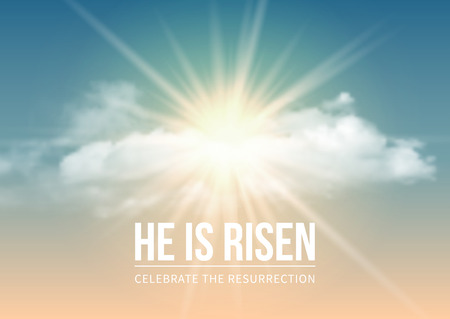 Disegno religioso cristiano per la celebrazione della Pasqua, testo È risorto, splende Croce e cielo con nuvole bianche. Illustrazione vettoriale