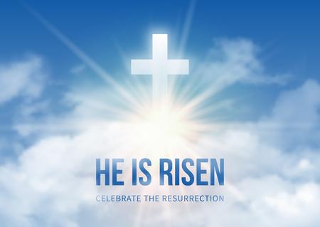 Christelijk religieus ontwerp voor de viering van Pasen, tekst Hij is opgestaan, schijnt Kruis en hemel met witte wolken. Vector illustratie. Stock Illustratie