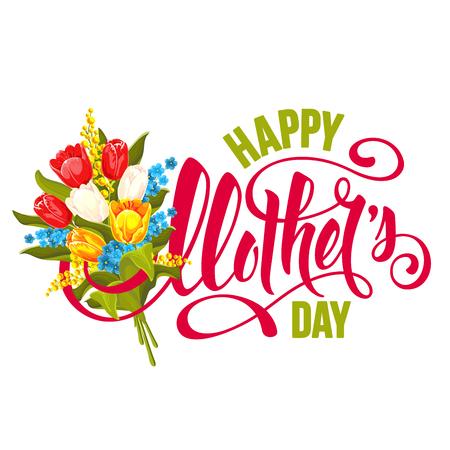 Disegno di giorno di madri con lettering calligrafico e bouquet di tulipani fiori e mimose. Illustrazione vettoriale per biglietto di auguri e altri modelli di stampa. Vettoriali
