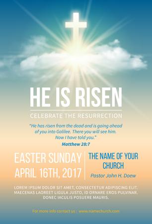 Christelijk religieus ontwerp voor de viering van Pasen. Kerkaffiche, flyer en andere. Tekst Hij is opgestaan, schijnt Kruis en hemel met witte wolken. Vector illustratie.