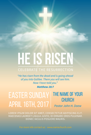 Christian religious design for Easter celebration. Church poster, flyer and other. Text He is risen, shining Cross and heaven with white clouds. Vector illustration.