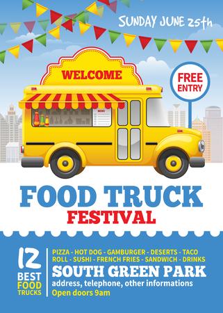 Voedsel vrachtwagen festival poster ontwerpsjabloon. Leuke vintage voedselvrachtwagen op blauwe hemelachtergrond. Vector illustratie. Voor vakantiefolder en bannersontwerp.