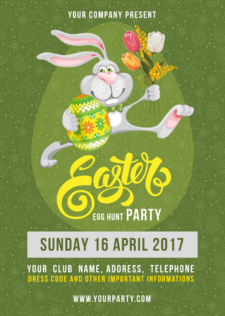 Easter Egg Hunt Party poster design template with cheerful bunny, colored egg on green background with doodle pattern. Calligraphic lettering inscription Easter. Vector Illustration.