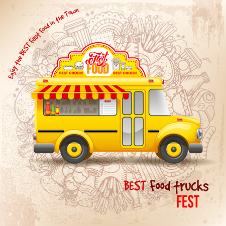Flyer design template for Food truck. Cute vintage food truck on background with doodle on fast food theme. Vector illustration. For ad flyers and banners design. Illustration
