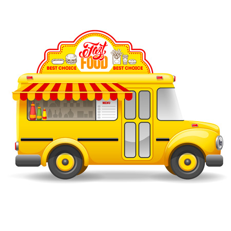 Cute vintage yellow food truck with advertising sign board on the roof. Isolated on white background. Vector illustration.