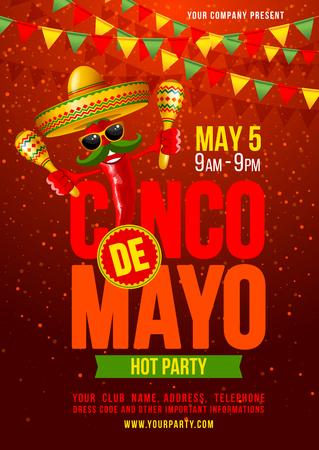 plantilla de Cinco de Mayo diseño del cartel con letras, y alegre pimiento jalapeño rojo en el sombrero y con maracas - símbolos de vacaciones. Ilustración del vector.