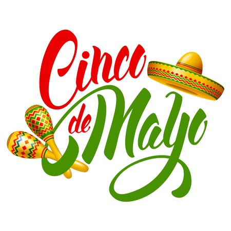 Cinco de Mayo emblem design with hand drawn calligraphy lettering, sombrero and maracas - symbols of holiday. Isolated on white background. Vector illustration. Illustration
