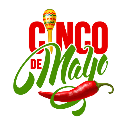 Cinco de Mayo emblem design with hand drawn calligraphy lettering, maracas and red pepper jalapeno - symbols of holiday. Isolated on white background. Vector illustration.