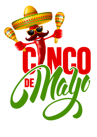 Cinco de Mayo emblem design with hand drawn calligraphy lettering, and cheerful red pepper jalapeno in sombrero and with maracas - symbols of holiday. Isolated on white background. Vector illustration.