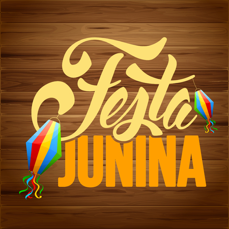 Festa Junina Brazil holiday design with traditional decorations on rustic wooden background. Vector illustration.