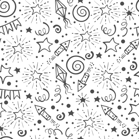 Festive seamless pattern. Hand drawn doodle holidays elements. Black and white background. Vector illustration.